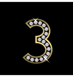 Number three sign vector image