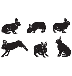 Silhouettes of the hare vector