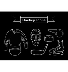 Hockey sportswear objects line art vector