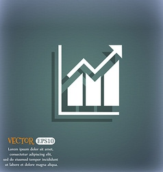 Growing bar chart icon on the blue-green abstract vector