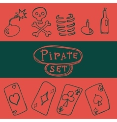 Set of pirate icon vector