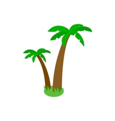 Two palm trees icon isometric 3d style vector