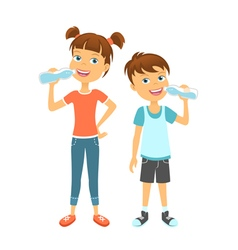 Happy children drinking water vector