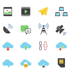 Color icon set - network communication vector