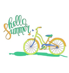Lettering hello summer and the bike vector
