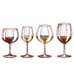 a set of wine glasses vector image