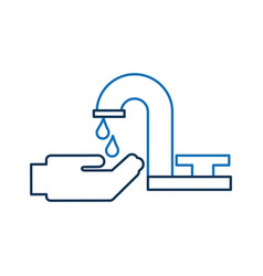 bathroom faucet hand drop water clean vector image