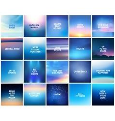 BIG set of 20 square blurred nature dark blue vector image