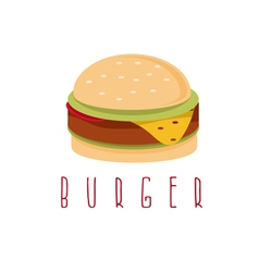 Burger with salad cheese and meat design template vector