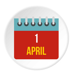 Calendar april 1 icon circle vector