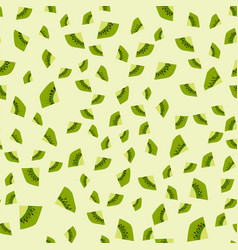 cartoon fresh kiwi fruits slice flat style vector image vector image