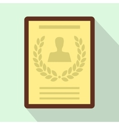 Certificate of the best employee icon flat style vector