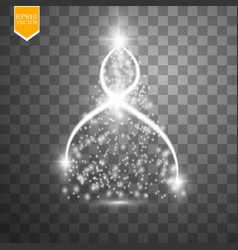 Christmas tree made white glitter bokeh lights vector