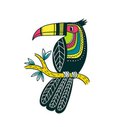 Cute colorful toucan in boho style vector