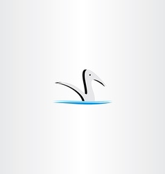 Duck in water logo sign element vector