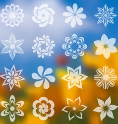 Flower icons collection vector image vector image