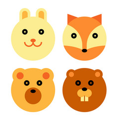 Forest animal cartoon set vector