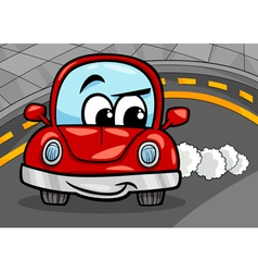 funny retro car cartoon vector image vector image