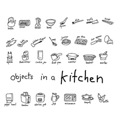 Hand drawn doodles of object in kitchen vector