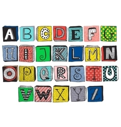 Hand drawn fancy alphabet on blocks vector image vector image