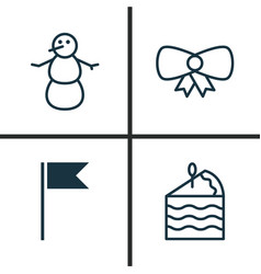 Holiday icons set collection of winter cake vector