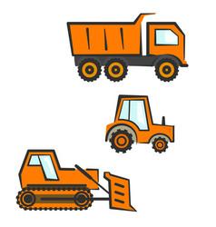 Industrial transport set dozer tractor dumper vector