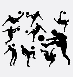 Male people playing soccer sport silhouettes vector