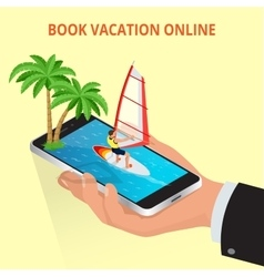 Modern concept of travelingbooking online vector image vector image