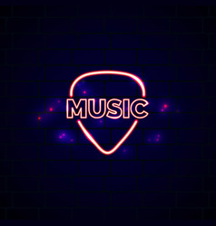 Neon music shop sign glowing guitar shop emblem vector