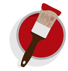 Paint can and brush vector image