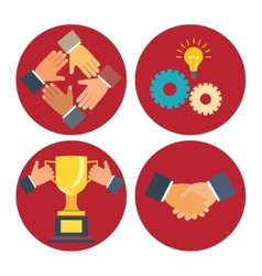 partnership and cooperation icons vector image