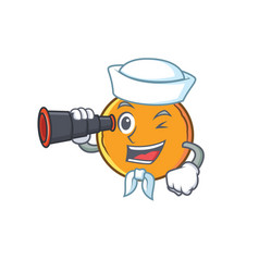 Sailor orange fruit cartoon character binocular vector
