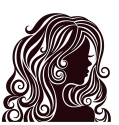 Silhouette of a young lady with luxurious hair vector
