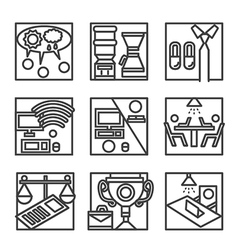 Simple line icons for co-working vector