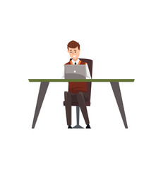 smiling businessman character working on his vector image vector image