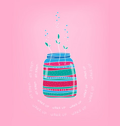 spring card with glass jar and first plant hand vector image