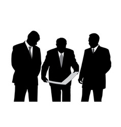 three businessmen looking at a new project plan vector image