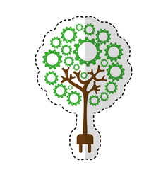 Tree plant with gears isolated icon vector