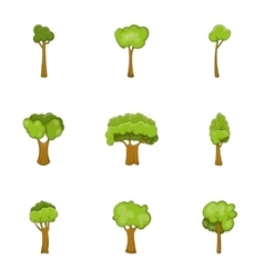 Trees of different shapes icons set cartoon style vector