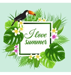 Tropical flowers and toucan vector image vector image
