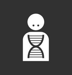 White icon on black background silhouette with dna vector