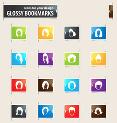 Woman bookmark icons vector