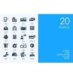 Set of blue hamster library finance icons vector