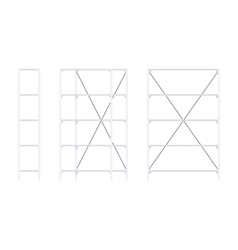 Set of metal white standing rack vector