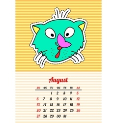 Calendar 2017 with cats august in cartoon 80s vector