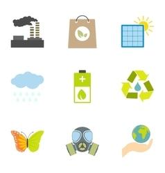 Ecology icons set flat style vector