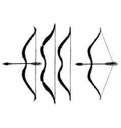 Set of silhouettes ethnic arrows and bows vector image