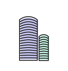 Isolated blue color skyscraper in lineart style vector