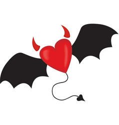 Evil horned heart vector