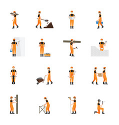 Construction worker man in helmet isolated on vector